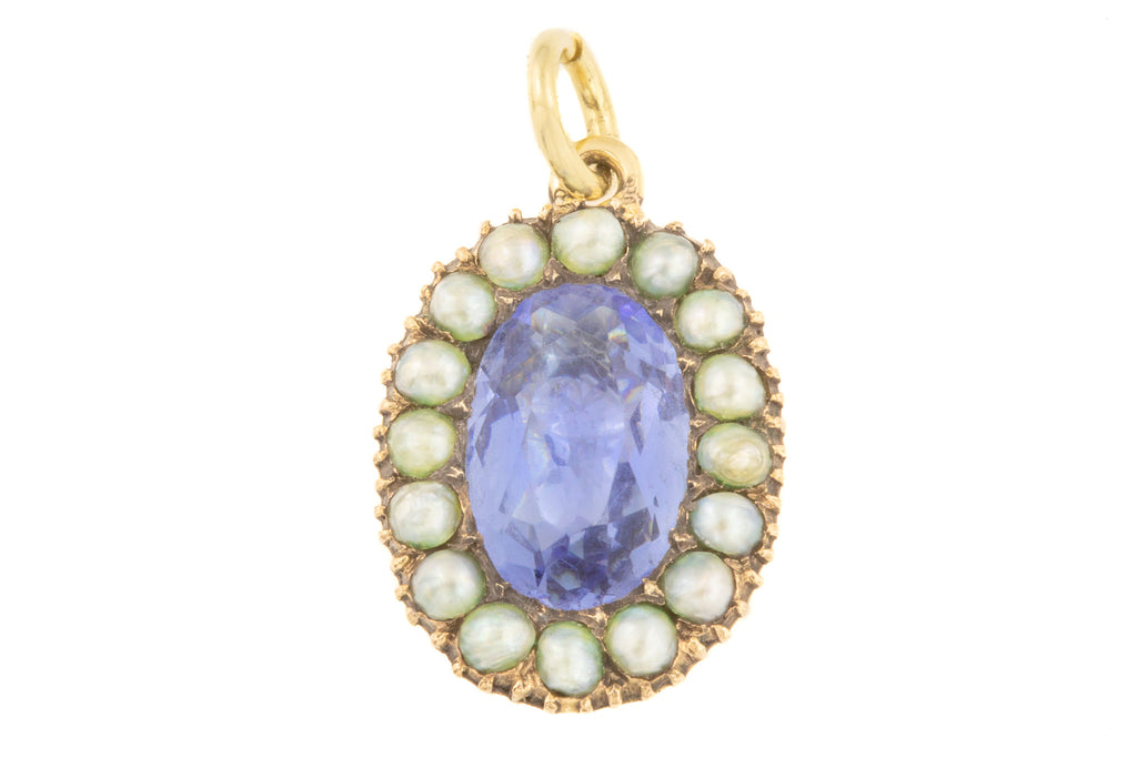 Georgian 15ct Gold Blue Paste Pearl Pendant