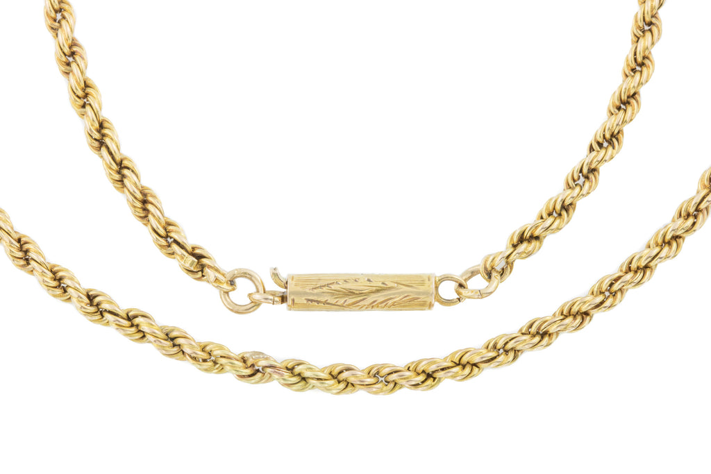 "Antique 15ct Gold Rope Necklace, 17"" (13g)"