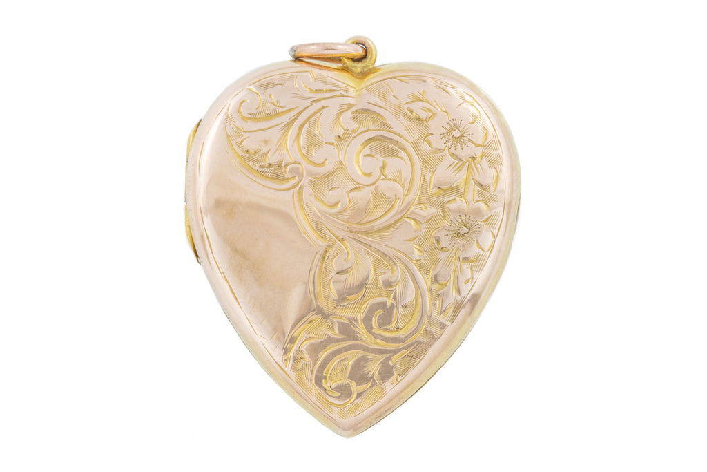 9ct Gold Large Antique Heart Locket