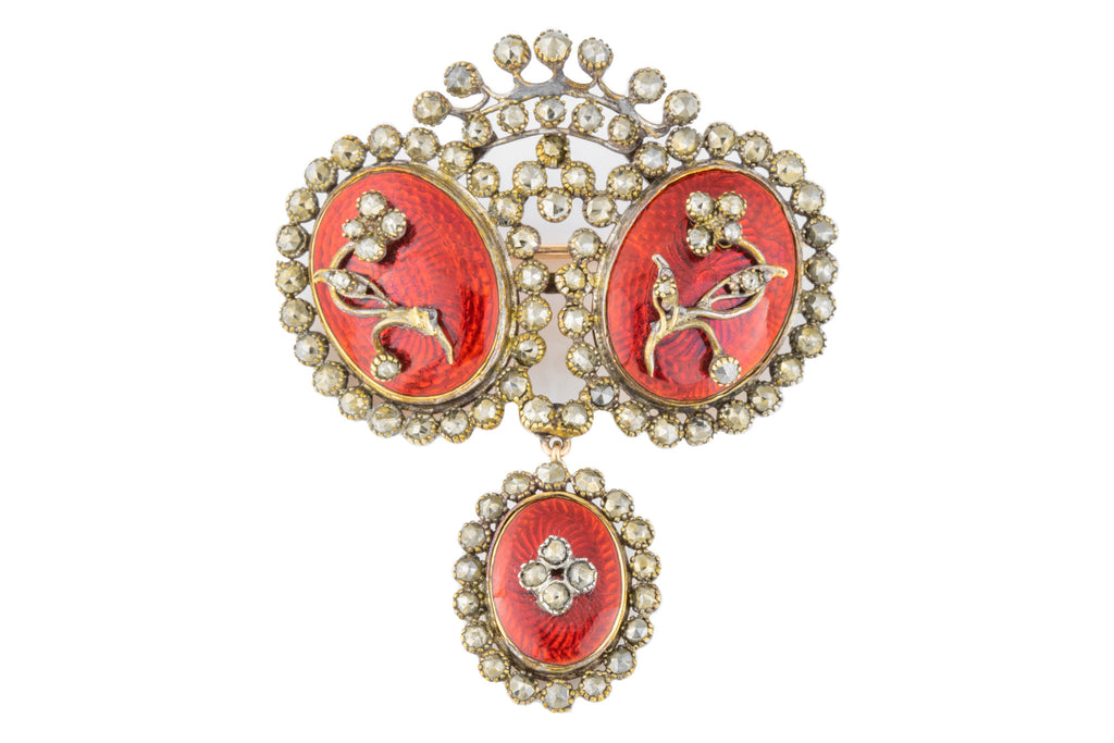 Georgian Queen Anne Enamel Brooch