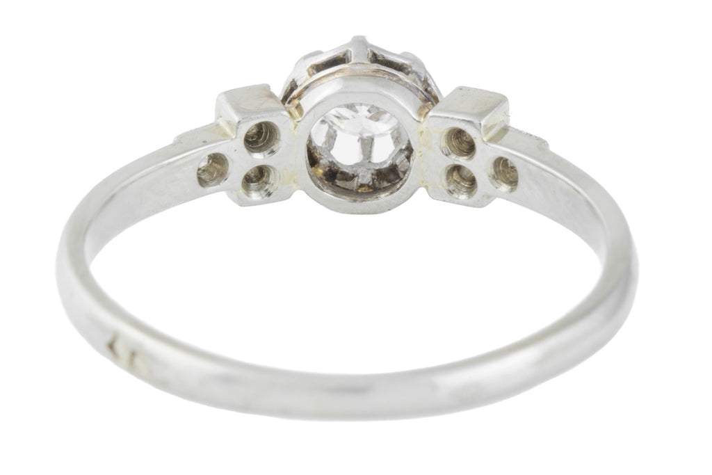 18ct White Gold French Art Deco Diamond Solitaire Ring