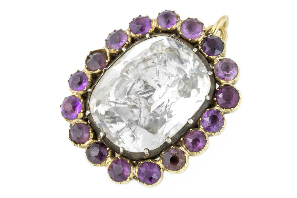 Georgian Rock Crystal Amethyst Pendant