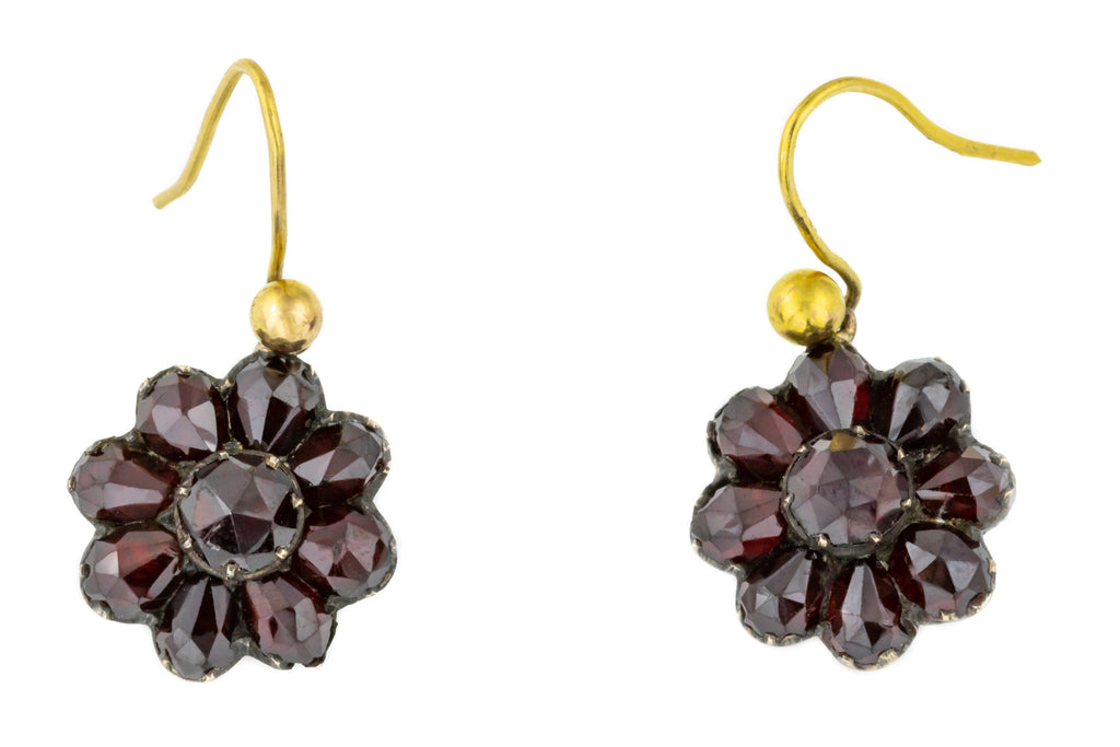 Antique Garnet Cluster Earrings