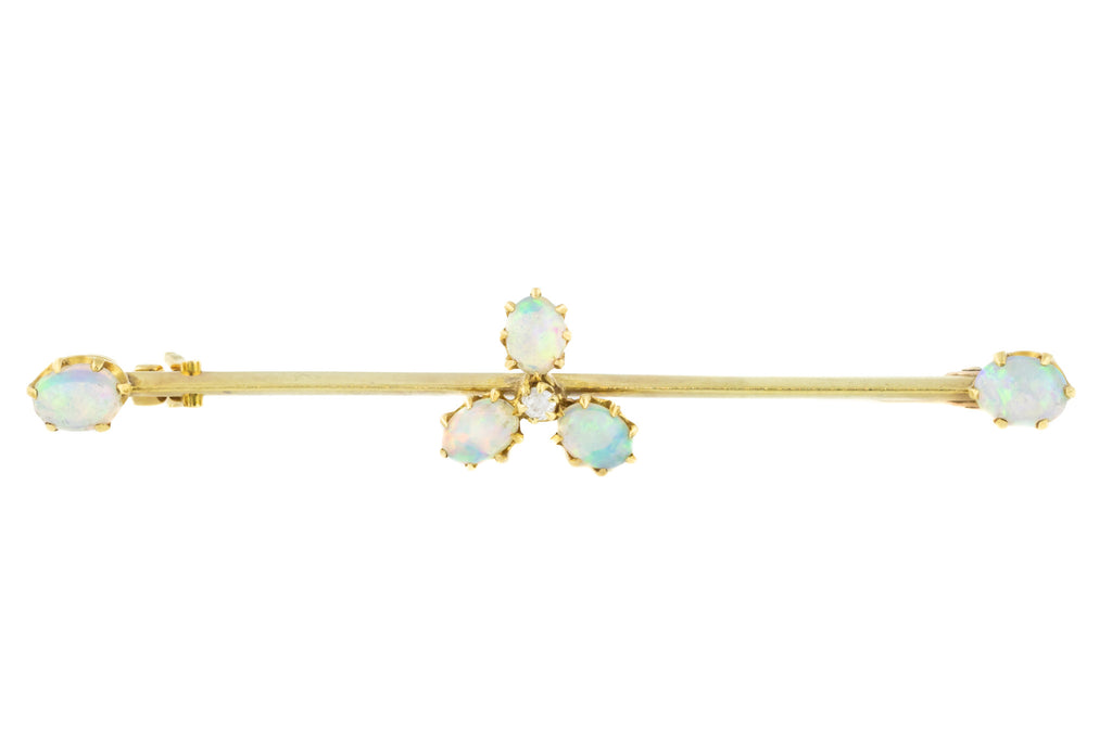 Antique 15ct Gold Opal Shamrock Brooch (1.16ct)