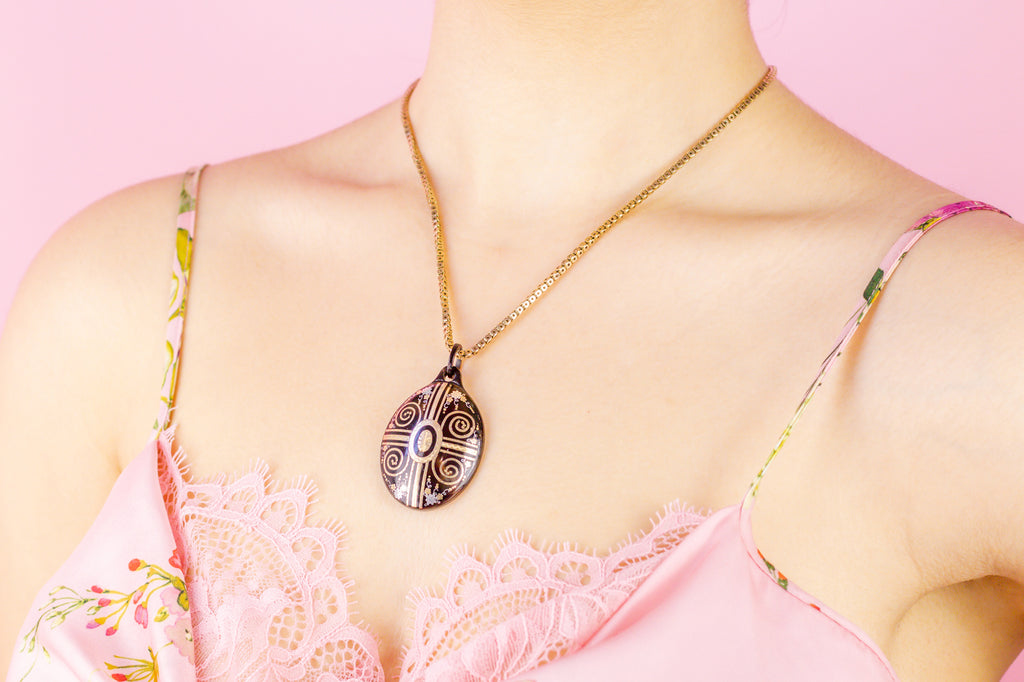 Victorian 9ct Gold Locket-Back Pique Pendant