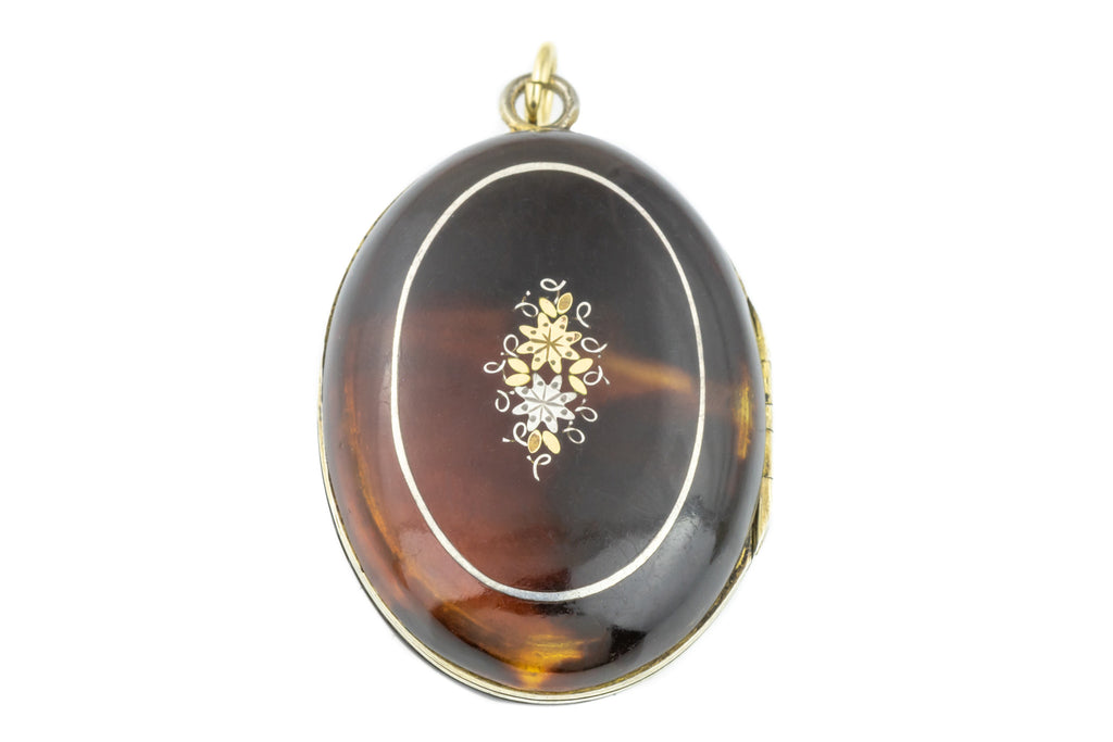 Antique Pique Mourning Locket with 9ct Gold Inlay