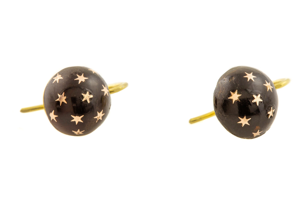 Victorian Pique Gold Star Earrings