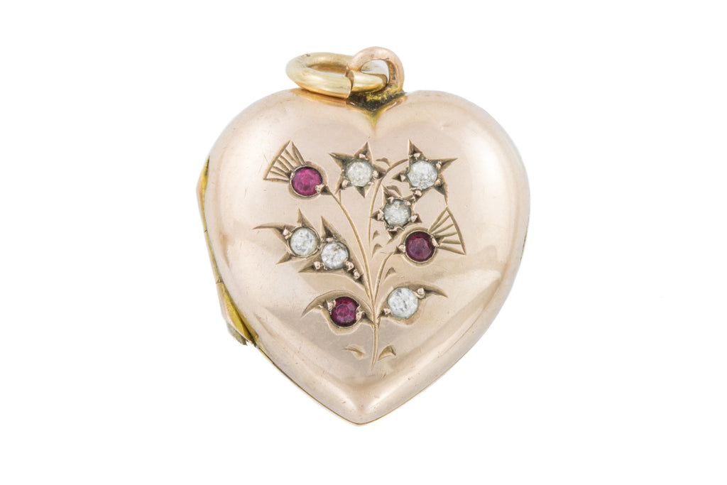 Antique Gold Heart Locket with Ruby and Diamond Paste