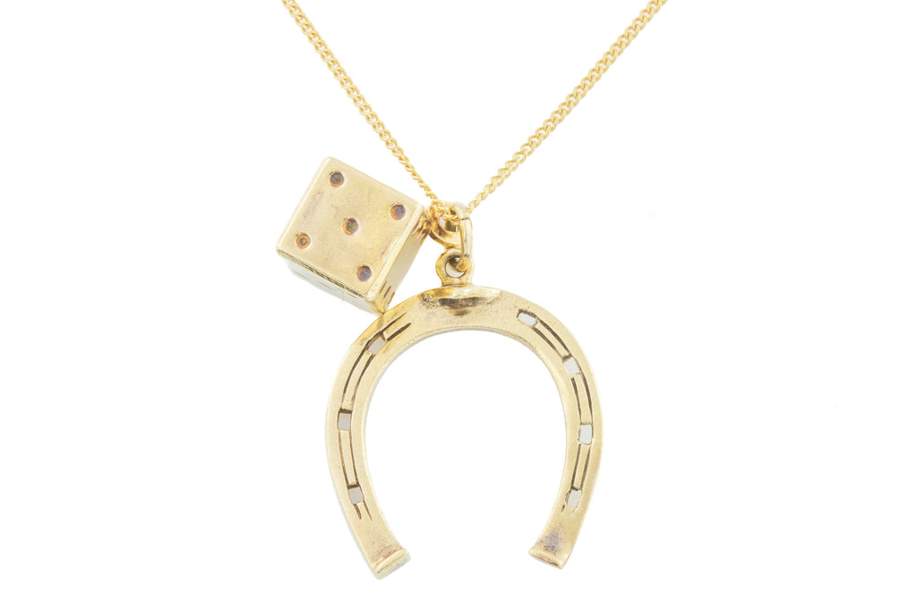 "9ct Gold Horseshoe and Dice Charm Pendant, with 20"" Chain"
