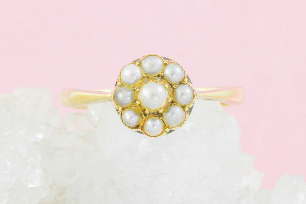 Antique 9ct Gold Pearl Cluster Ring