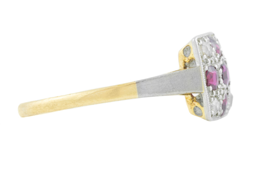 18ct Gold Art Deco Ruby Diamond Cross Ring