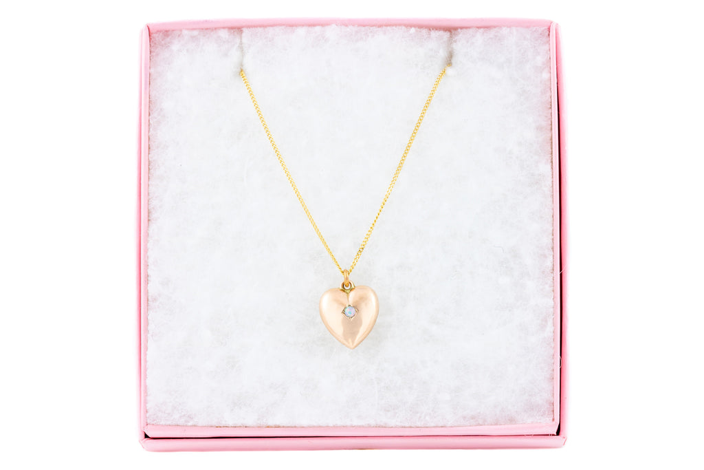 "Antique Gold Opal Heart Pendant c.1898, with 18"" Chain"