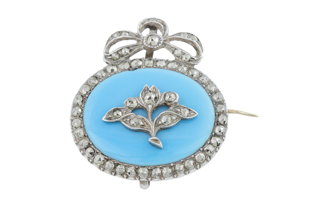 Antique Silver Enamel Queen Anne Style Brooch Pendant