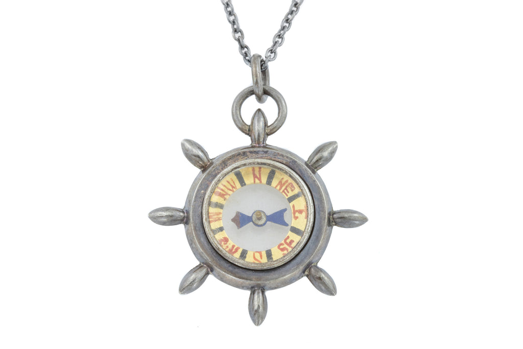 "Antique Compass Pendant c.1905, with 16"" or 18"" Chain"