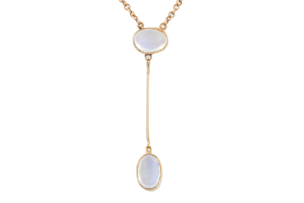 Antique Rose Gold Moonstone Drop Pendant (1.91ct), 16""