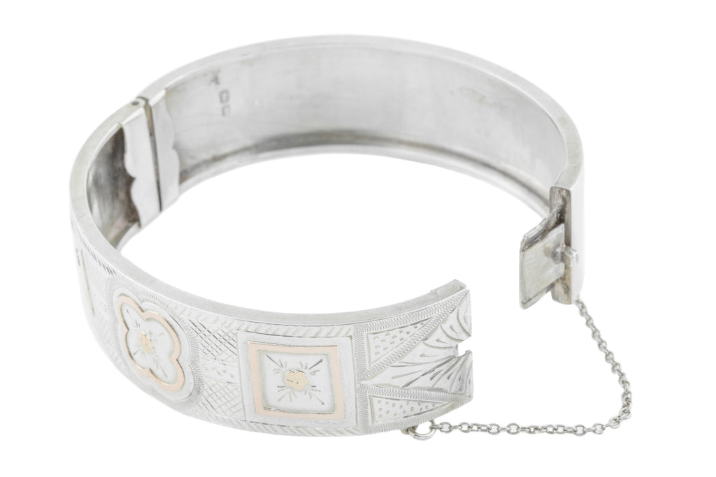 Antique Silver Cuff Bangle c.1882