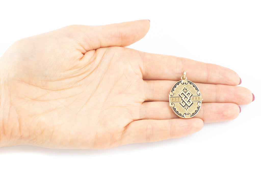 French 18ct Gold Antique Enamel Locket