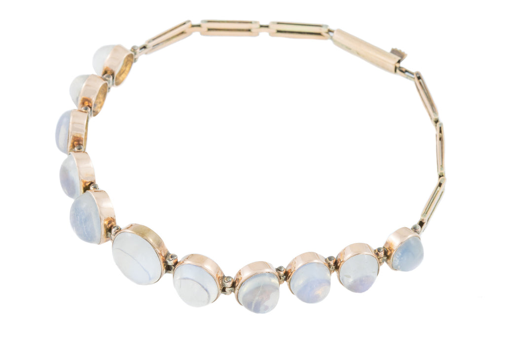 Antique Gold Ceylon Moonstone Bracelet (19.29ct), 17""