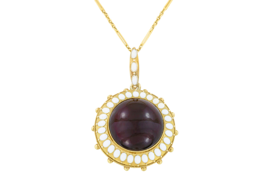 "18ct Gold Antique Garnet Enamel Pendant (24.24ct Garnet), with 17"" Paperclip Chain"