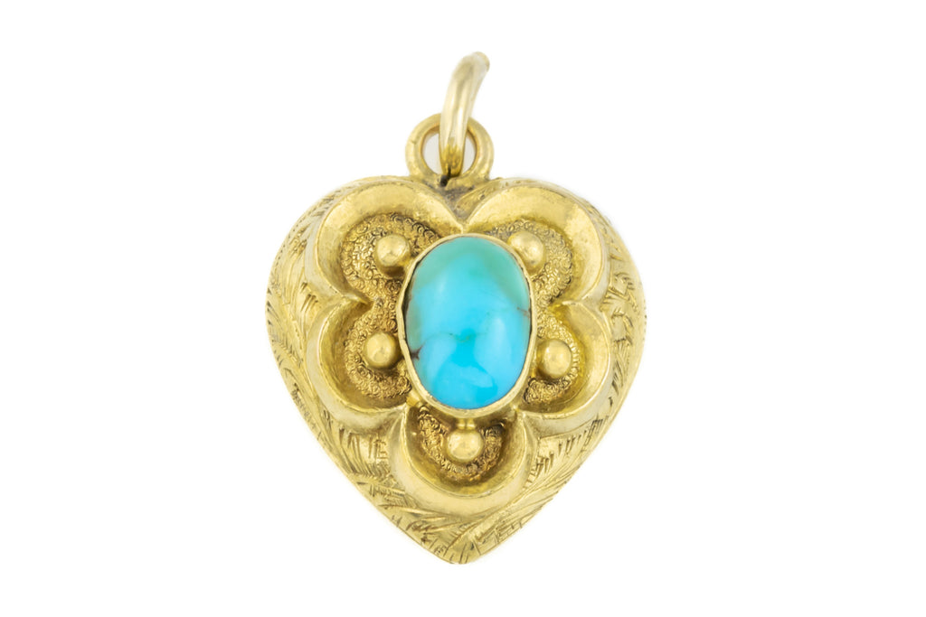 Antique 18ct Gold Turquoise Heart Pendant