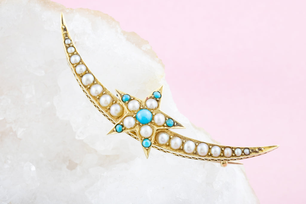 Antique 15ct Gold Pearl Turquoise Crescent Moon Brooch
