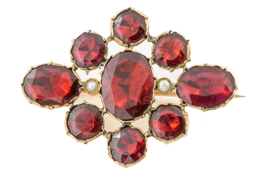 Georgian Flat Cut Garnet Brooch