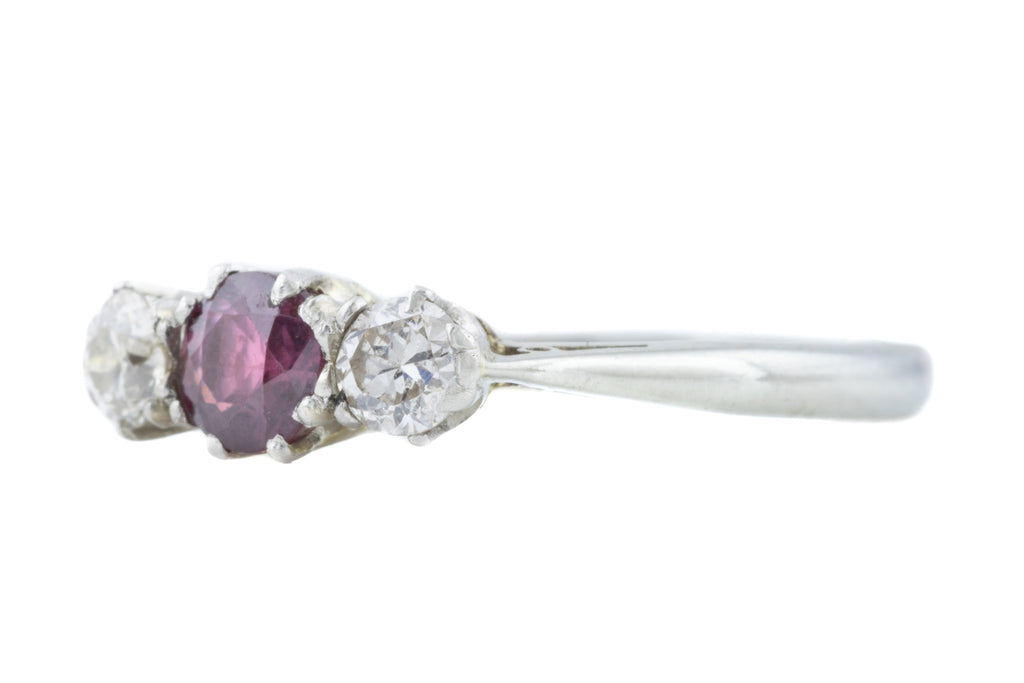 Art Deco 18ct White Gold Ruby Diamond Trilogy Ring