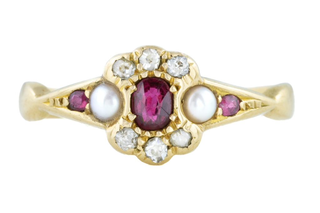 Antique 18ct Gold Ruby Diamond Pearl Ring