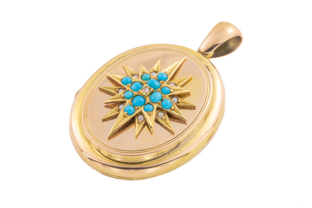 Antique 15ct Gold Turquoise Pearl Diamond Starburst Locket