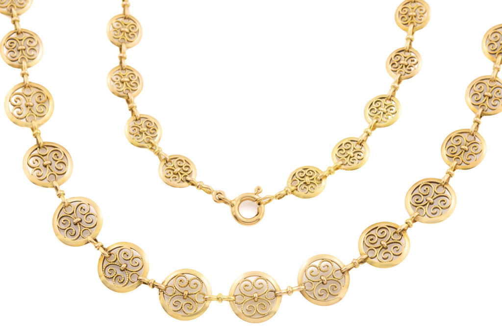 "French 18ct Gold Filigree Coin Necklace, 19"" (19.8g)."
