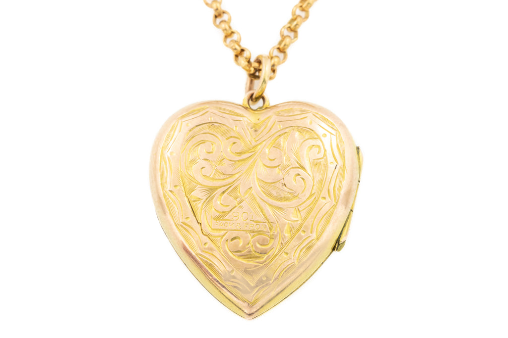 "Antique Gold Heart Locket, with 19"" Antique Chain"