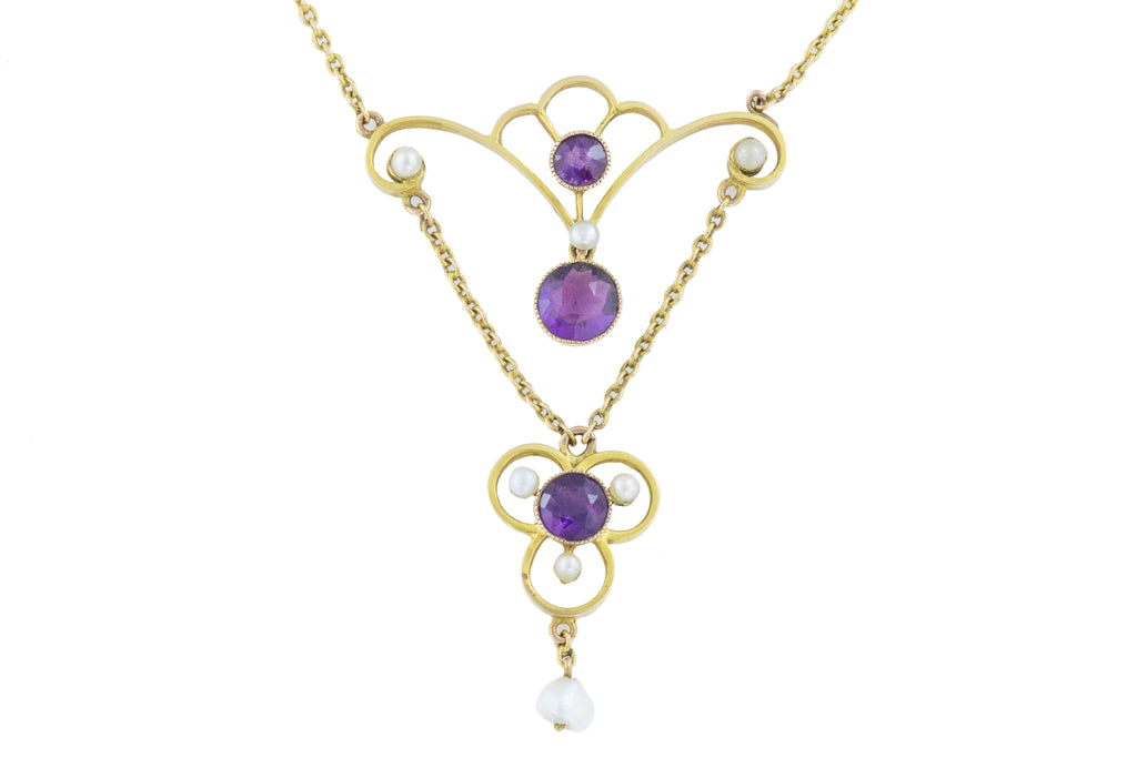 Art Nouveau Amethyst Lavalier Necklace, 15 & 3/4""