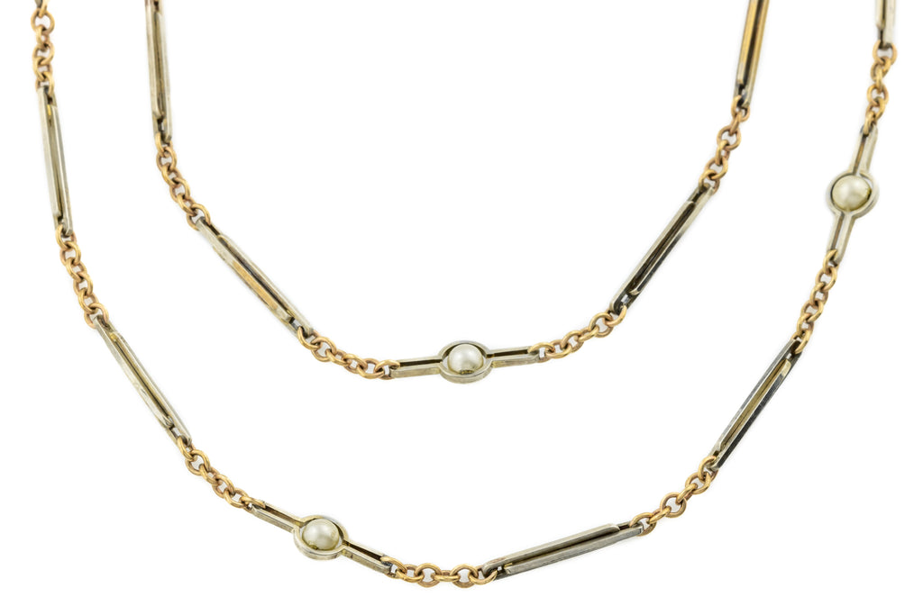 "Antique White and Yellow Gold Chain with Pearls, 57"" (15.7g)"