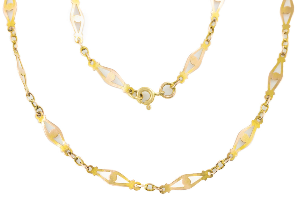 "Art Deco Gold Filigree Necklace, 20"" (4.1g)"