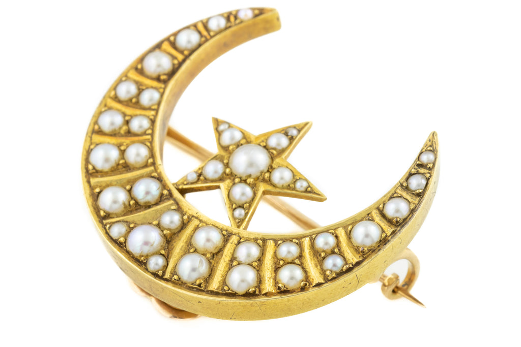15ct Gold Antique Star and Moon Brooch