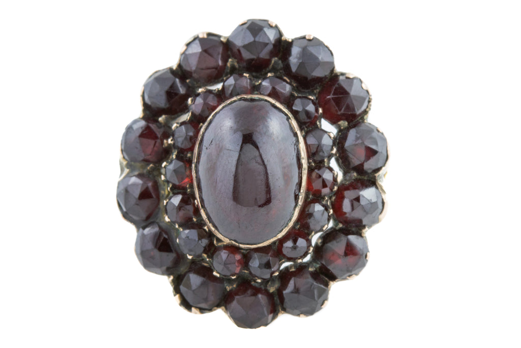 Antique Rose Gold Garnet Cluster Ring (5.67ct)