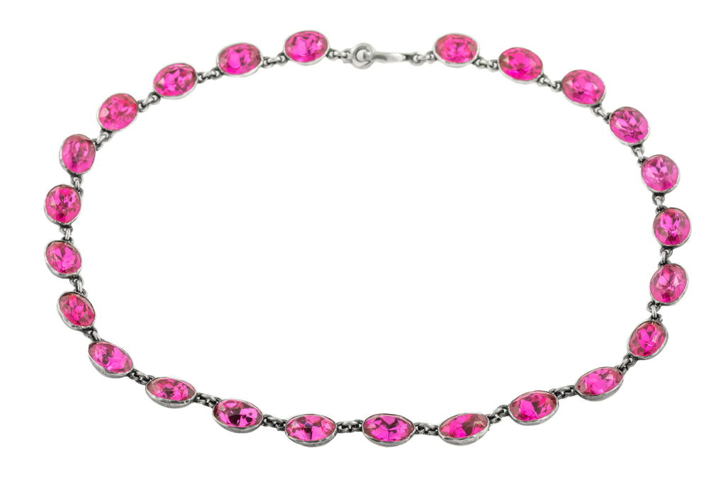 Georgian Pink Paste Riviere Necklace, 15""