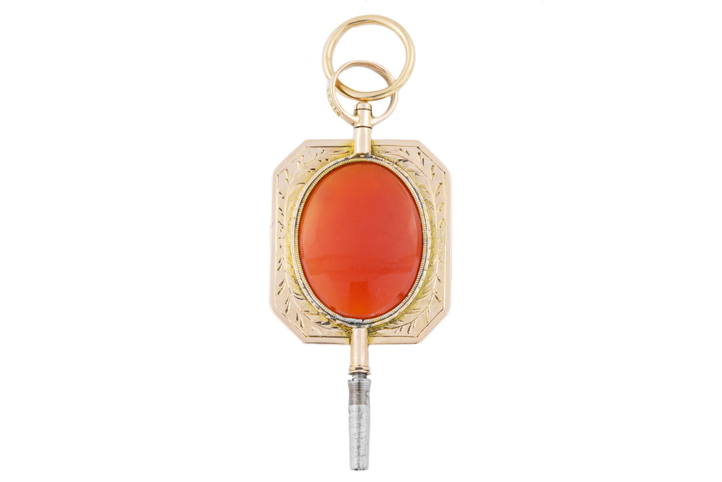 Antique 18ct Gold Carnelian Watch Key Pendant