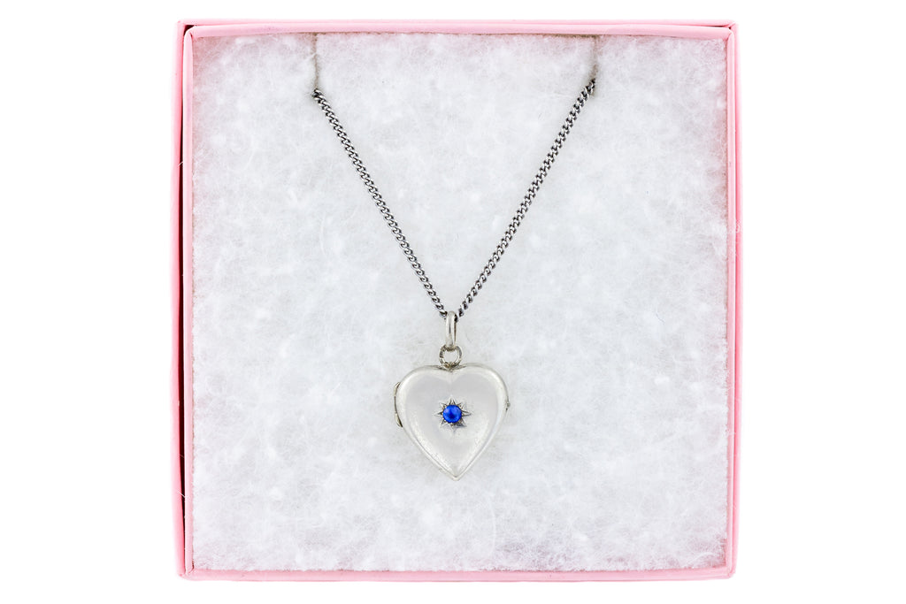 "Antique Silver Heart Locket with Paste, with 16"" Chain"