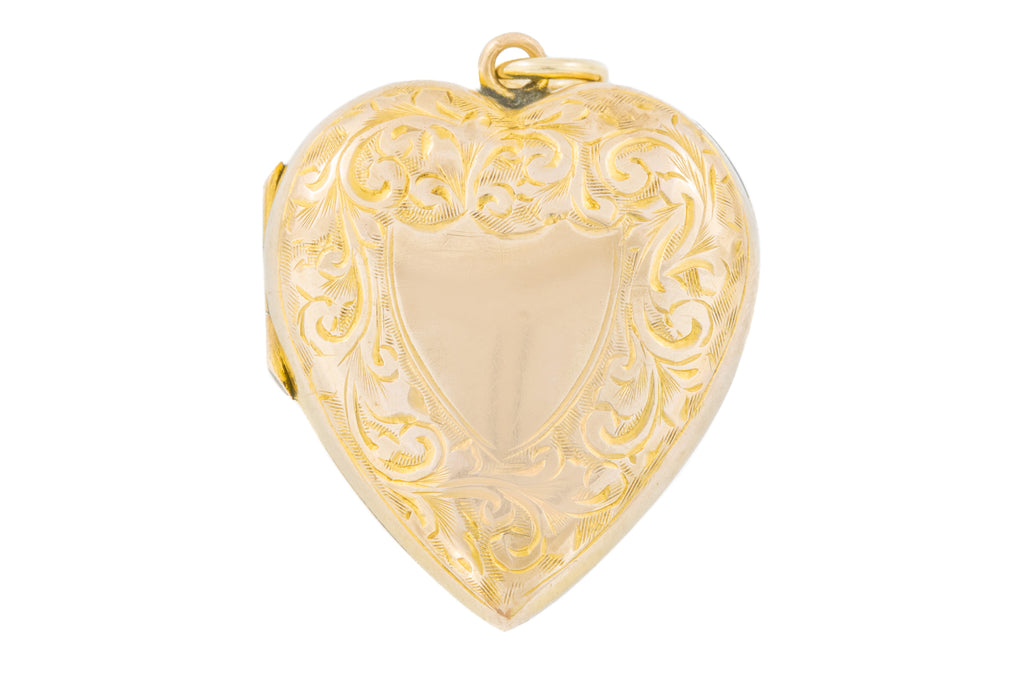 Antique Gold Engraved Heart Locket