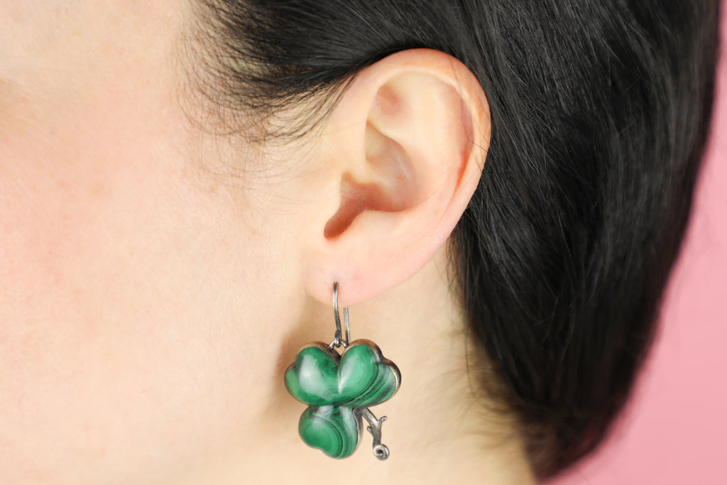 Antique Silver Malachite Clover Earrings