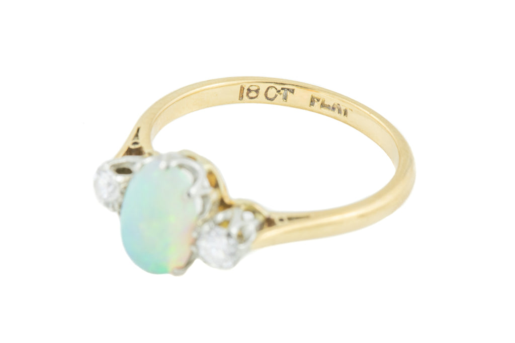 Art Deco 18ct Gold Diamond Opal Trilogy Ring
