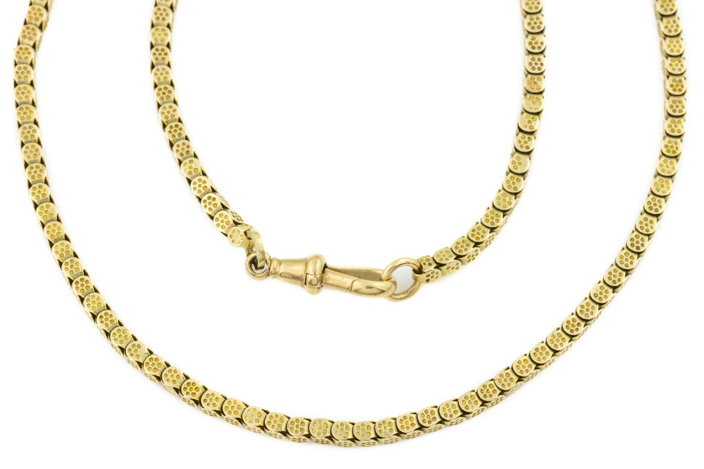 "Victorian 12ct Gold Long Guard Chain, 51 & 1/2"" (42.6g)"