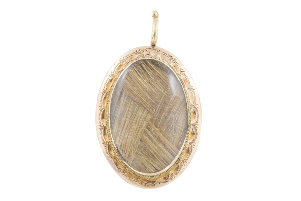 Georgian Gold Mourning Locket with Woven Blonde Hair Work