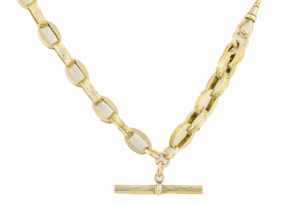 "Chunky Antique Gold Link Chain with T-bar, 18.5"" (37.9g)"