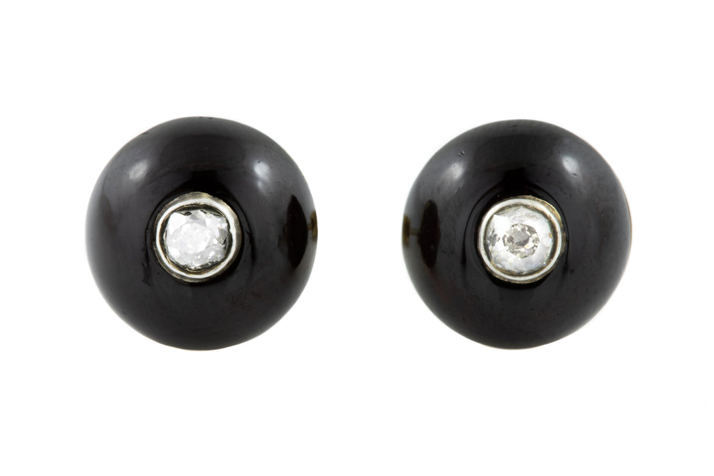 Antique Garnet Diamond Stud Earrings (0.22ct)