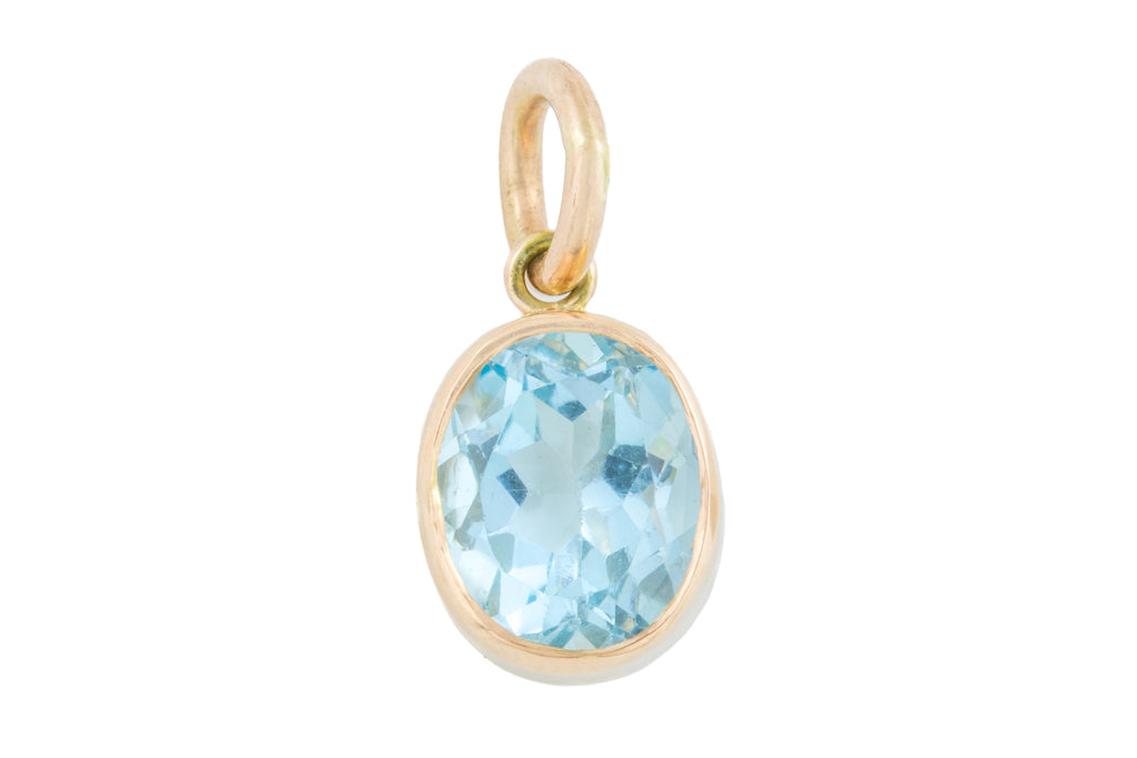 Antique Rose Gold Aquamarine Pendant (3.61ct)