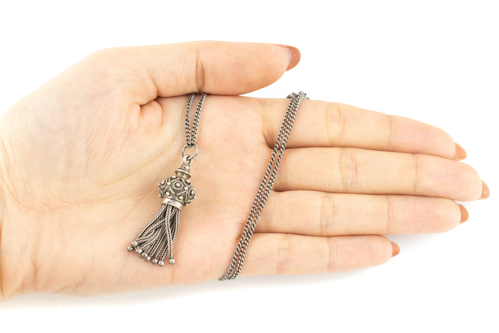"Antique Silver Tassel Pendant, with 20"" Chain"