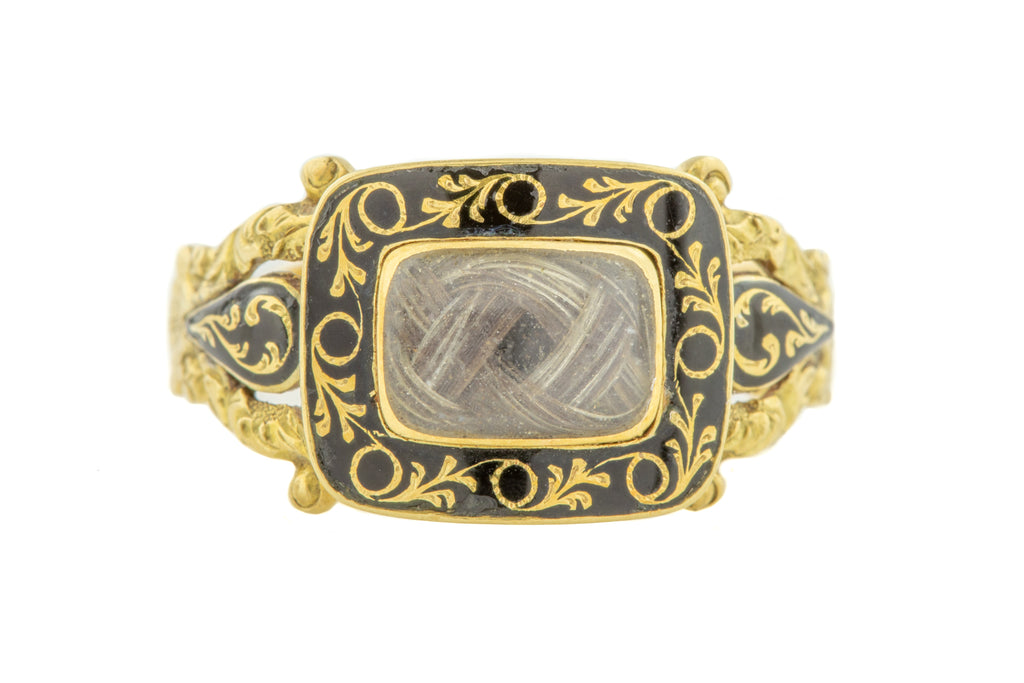Georgian 18ct Gold Black Enamel Mourning Ring c.1830