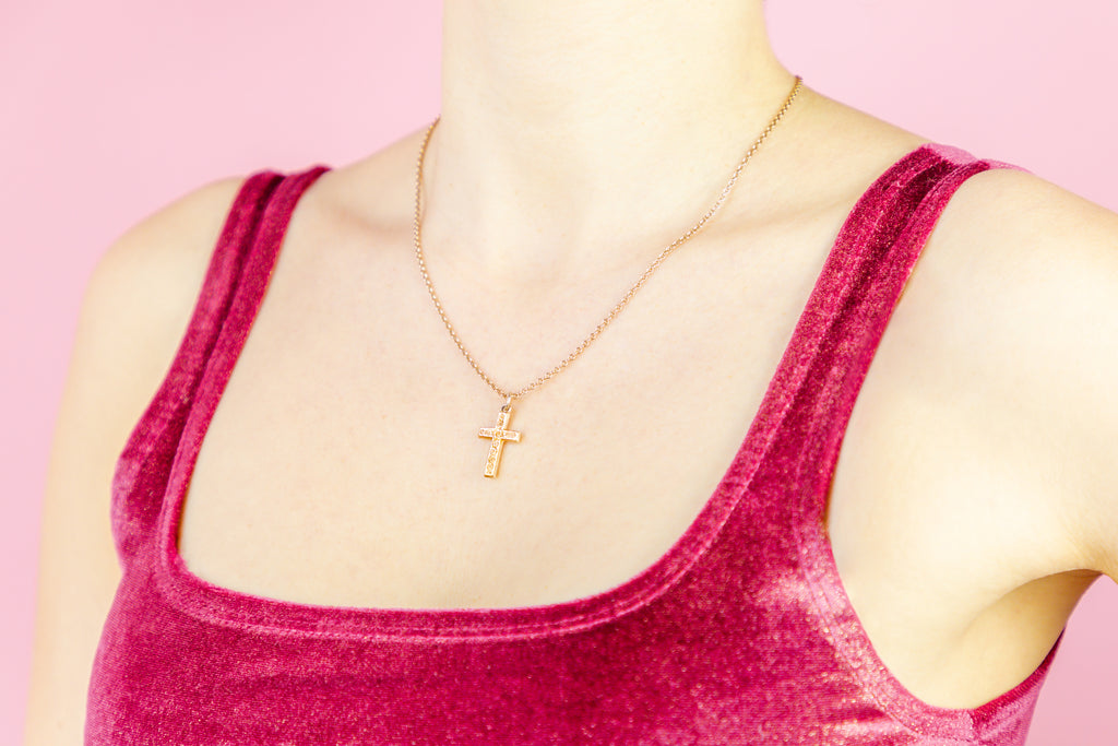 "Antique Gold Cross Charm Pendant c.1893, with Antique 18"" Chain"